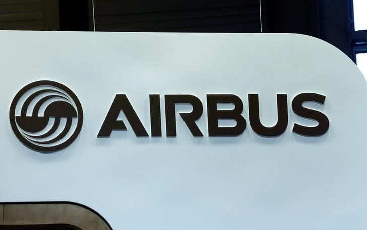 An Airbus logo pictured on the company booth during the European Business Aviation Convention & Exhibition (EBACE) at Cointrin airport in Geneva, Switzerland.