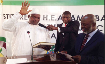 Photo: Adama Barrow taking oath of office at swearing in ceremony in Senegal