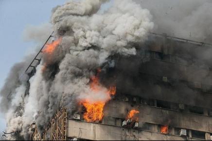 Fire breaks out in a high-rise building in Tehran, Iran.