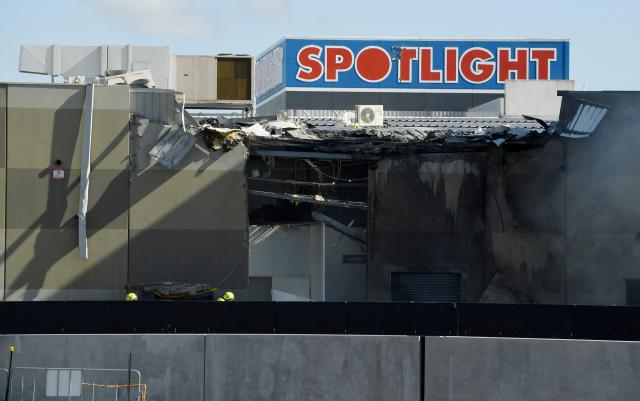 The scene where a light plane crashed into the back of a building at Essendon airport in Melbourne, Australia.
