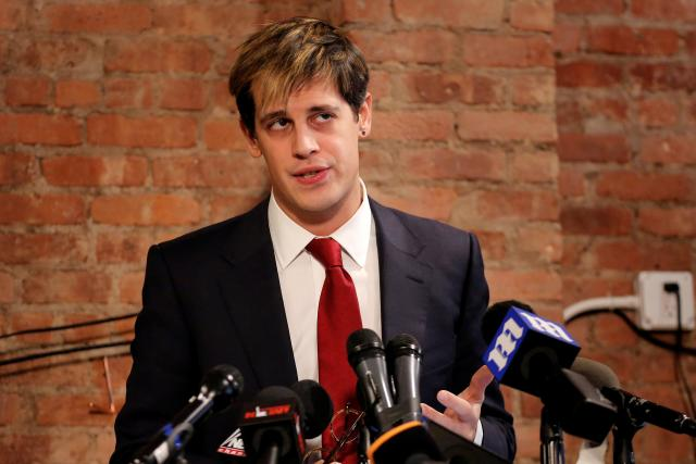 Milo Yiannopoulos addresses the media during a news conference in New York, U.S.