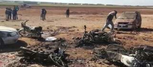 Site of a car bomb attack carried out by the Islamic State (ISIS) in Souissan, Syrua