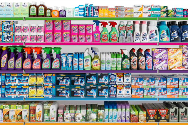 Reckitt Benckiser products displayed on a shelf in a mart