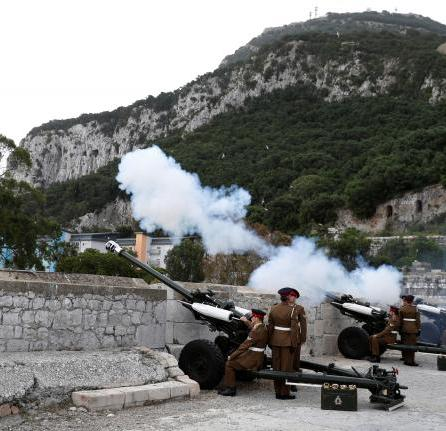 Members of the Royal Gibraltar Regiment fire a 21 gun salute to mark the 91st birthday of Britain's Queen Elizabeth in the British overseas territory of Gibraltar, historically claimed by Spain.