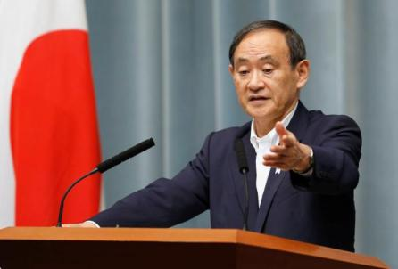 Japan's Chief Cabinet Secretary Yoshihide Suga attends a news conference after the launch of a North Korean missile at Prime Minister Shinzo Abe's official residence in Tokyo, Japan.