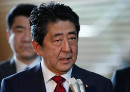 Japan's Prime Minister Shinzo Abe speaks on reports of the launch of a North Korean missile to reporters , at his official residence in Tokyo, Japan.