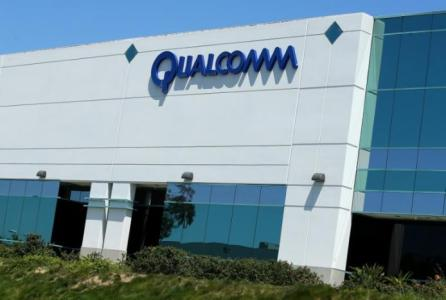 A Qualcomm sign is pictured at one of its many campus buildings in San Diego, California, U.S.