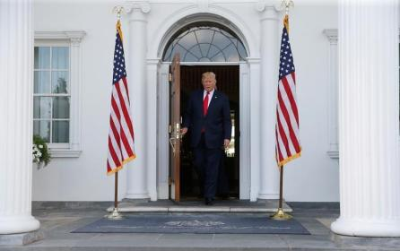 U.S. President Donald Trump emerges from the club house at his golf estate to speak to reporters in Bedminster, New Jersey U.S.