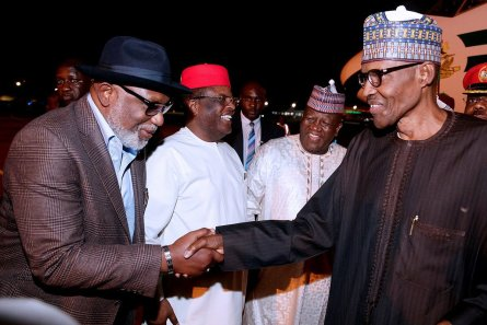 President Muhammadu Buhari exchange pleasantries with his aides at the Presidential Wing of the Nnamdi Azikiwe International Airport, Abuja after returning from the recently held 72nd United Nations General Assembly 2017 in the U.S.