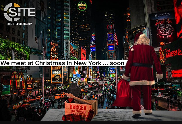 An ISIS propaganda poster shows Santa Claus looking out over a crowd of shoppers with the words; 'we meet at Christmas in New York... soon'.