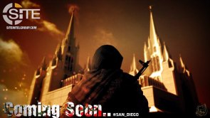 An ISIS propaganda poster published by the pro-ISIS Wafa' Media Foundation shows a jihadi standing in front of the San Diego California Temple, a Mormon temple.