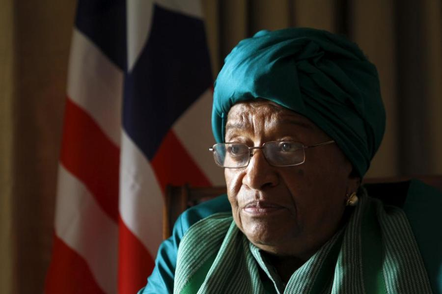 Liberia's President Ellen Johnson Sirleaf attends an interview ahead of the World Trade Organization Summit in capital Nairobi