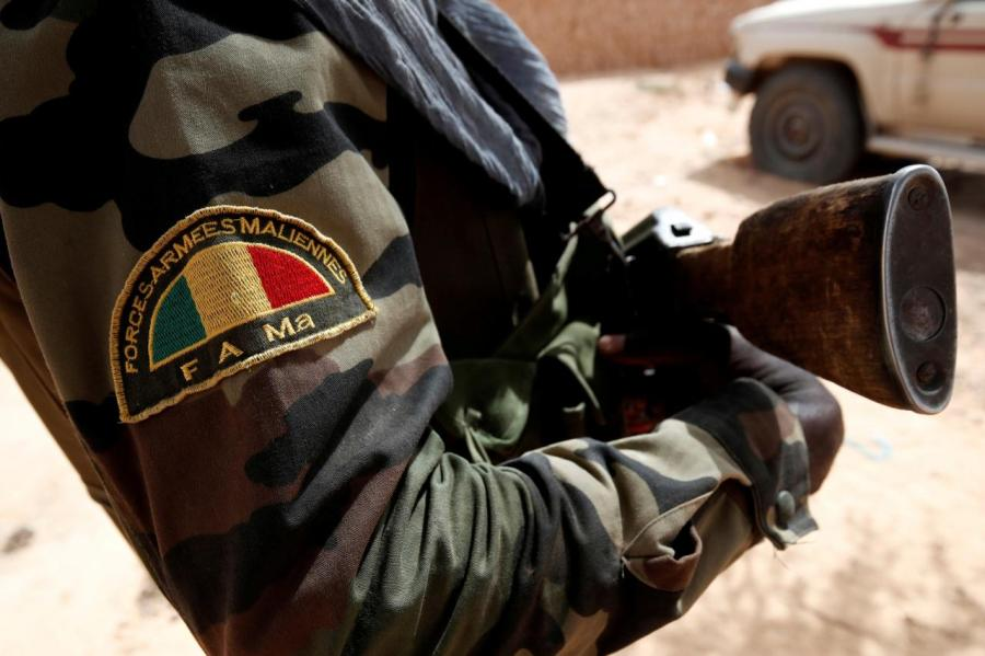 A Malian Armed Forces patch worn by a soldier is pictured during the regional anti-insurgent Operation Barkhane in Tin Hama, Mali.