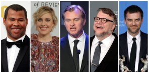 Nominees for the 90th Oscars, Best Director Awards (L-R) Jordan Peele, Greta Gerwig, Christopher Nolan, Guillermo del Toro and Paul Thomas Anderson.