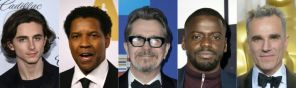 Nominees for the 90th Oscars, Best Actor Awards (L-R): Timothee Chalamet, Denzel Washington, Gary Oldman, Daniel Kaluuya and Daniel Day-Lewis.
