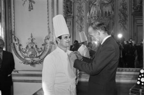 French chef Paul Bocuse is awarded the French Legion d'honneur by President Valery Giscard d'Estaing in 1975.