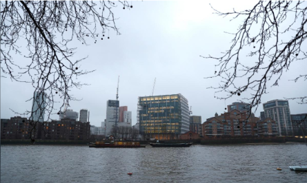 The new United States embassy building can be seen from across the River Thames in Nine Elms in London, Britain.