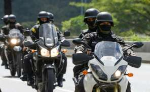 Venezuelan police patrol seen during an operation to capture Oscar Perez, the Venezuelan helicopter pilot who dropped grenades on the Supreme during the 2017 anti-government protests.