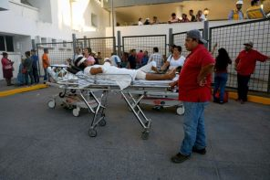 Patients and staff are evacuated from a regional hospital in Veracruz following an earthquake in Mexico City, Mexico.
