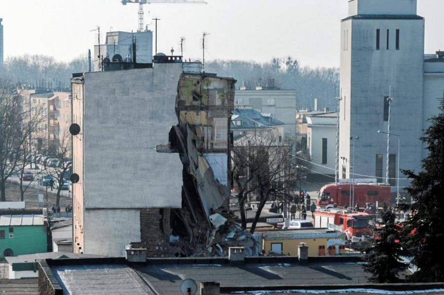 An apartment building is pictured after a gas explosion in Poznan