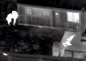 Stephon Clark is visible on the ground after two police officers shot him, in this still image captured from police aerial video by Sacramento Police Department.