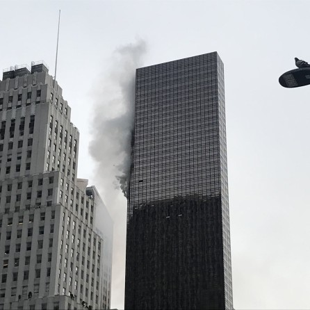 Trump Tower is pictured during a fire in the Manhattan borough of New York City, New York, U.S.
