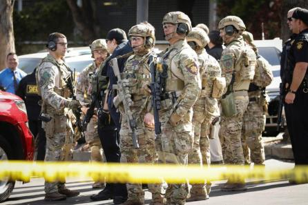 San Mateo SWAT team officers are seen at Youtube headquarters following an active shooter situation in San Bruno, California, U.S.