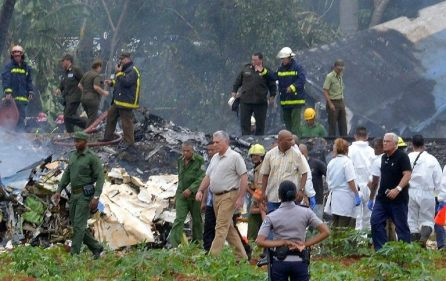 Cuban President Miguel Diaz-Canel visits the wreckage site of a Boeing 737 plane that crashed in the agricultural area of Boyeros, around 20 km (12 miles) south of Havana, shortly after taking off from Havana's main airport in Cuba.