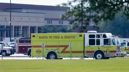 Emergency vehicles are seen at Santa Fe High School following a shooting incident in Santa Fe, Texas, U.S.,