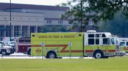 Emergency vehicles are seen at Santa Fe High School following a shooting incident in Santa Fe, Texas, U.S.,