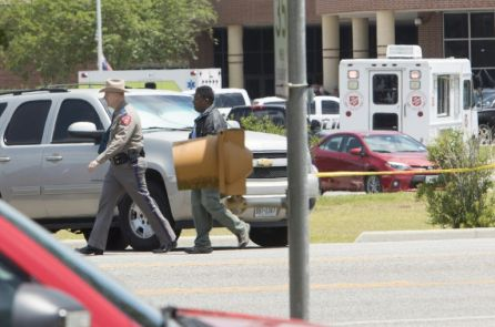 Law enforcement officers are responding to Santa Fe High School following a shooting incident in Santa Fe, Texas, U.S.