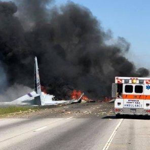 The military plane crash site is seen in Savannah, Georgia, U.S.