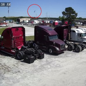 The U.S. Hercules C-130 helicopter caught on video (red circle) moments before it crashed in Savannah, Georgia, U.S.