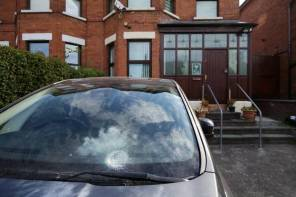 General view of the house of former Sinn Féin leader Gerry Adams after an explosive device thrown into his compound in western Belfast, Northern Ireland.