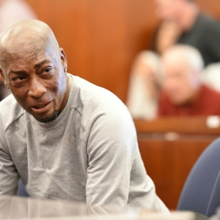 Dewayne Johnson reacts after hearing the verdict to his case against Monsanto in San Francisco, California, U.S.
