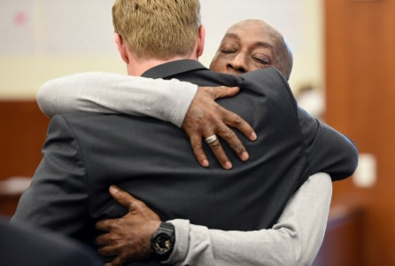 DeWayne Johnson hugs one of his lawyers after hearing the verdict to his case against Monsanto at the Superior Court Of California in San Francisco, California, U.S.