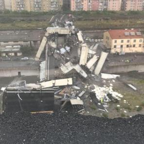 A collapsed section of the raised A10 highway is seen in Genoa, Italy.