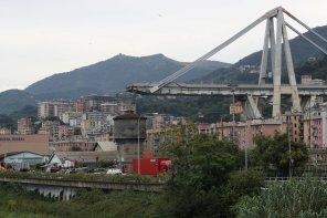 The collapsed Morandi Bridge is seen in the Italian port city of Genoa, Italy.
