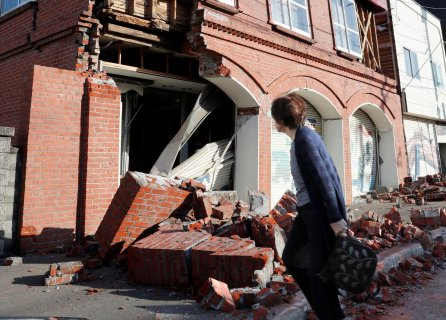 A building damaged by a powerful earthquake is seen in Abira town in Japan's northern island of Hokkaido, Japan.