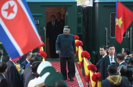 North Korea's leader Kim Jong Un arrives at the border town with China in Dong Dang, Vietnam.