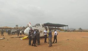 Security personnel are seen at the scence of a helicopter crash involving Nigerian Vice President Yemi Osinbajo in Kabba, Kogi, Nigeria.