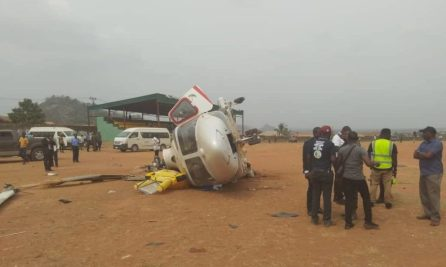 Security personnel are seen at the scence of a helicopter crash involvg Nigerian Vice President Yemi Osinbajo in Kabba, Kogi, Nigeria.