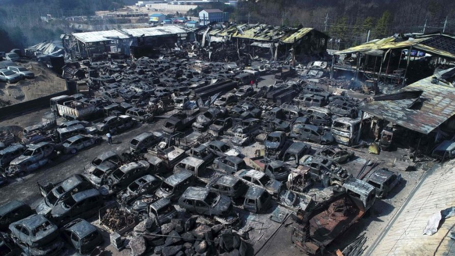 An automobile junkyard destroyed by wildfires is seen in Sokcho, South Korea.