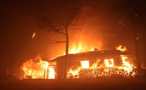 A house is seen burning in Goseong, South Korea.