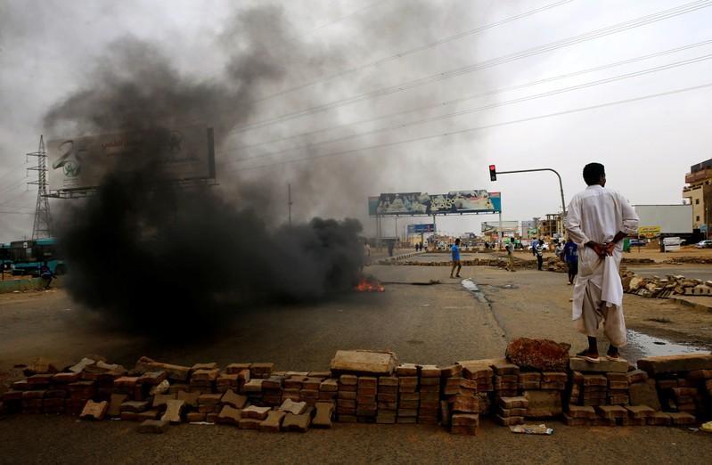Sudan protest barricade