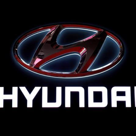The logo of Hyundai Motor is pictured at the second media day for the Shanghai auto show in Shanghai, China.