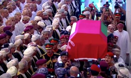 Mourners gather to pay their respects as Oman's Sultan Qaboos bin Said's coffin passes during the funeral procession in Muscat, Oman.