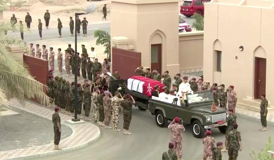 Oman's Sultan Qaboos bin Said's coffin rides on a military vehicle during the funeral procession in Muscat, Oman.