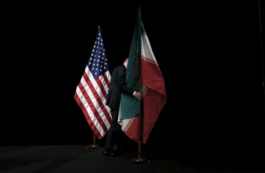 U.S. Iran flags